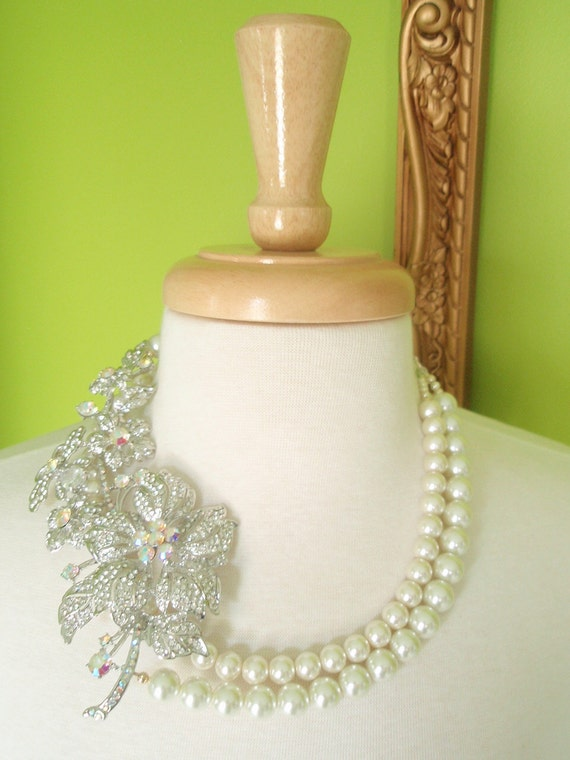 DIANA - Double Strand Ivory Pearl with Crystal Brooch Necklace