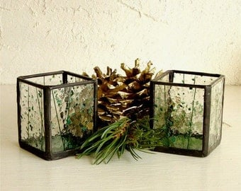 Stained Glass Candle Holders Pair of Tea Light Size Candle Lanterns Green and Clear Confetti Glass