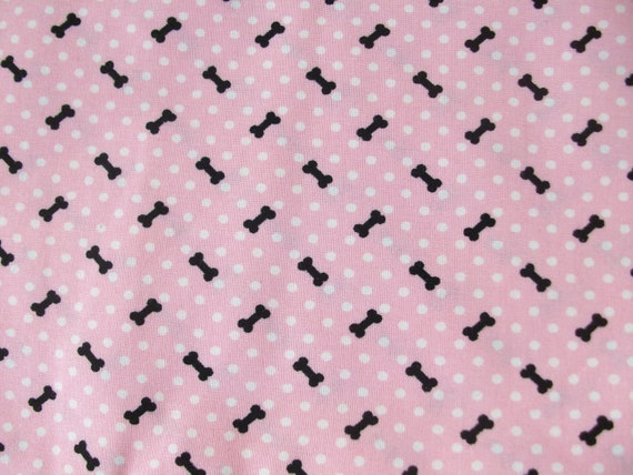 Pink  Dog Bone  Cotton Fabric 1/2 yard