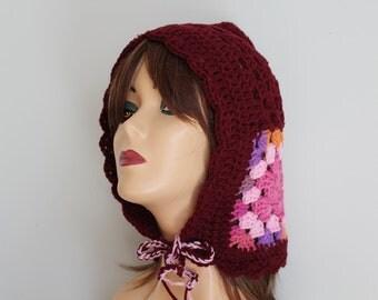 Crocheted Afghan Burgundy Hat