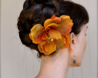 Rust orange, saffron and moss green brown flower hair clip. Fall evening accessory.