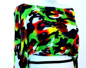 Plus Size Camo Dolman Sleeve Shrug Bolero Coverup Fits sizes (14 -24)