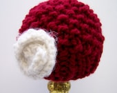 Chunky Knit Little Girl Hat With Flower, Knit Girls Hat with Flower, Knit Beanie, Cranberry Red With Fuzzy White Flower, Ages 2-4 years