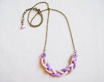 SALE - Polymer Clay Bib Necklace, Pink Purple  Necklace, Pastel Necklace