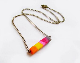 Polymer Clay Necklace, Colorful Bar Necklace
