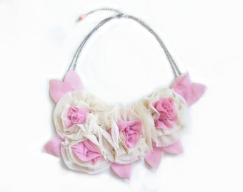 Flower Statement Necklace, Bib Necklace in Pink and Off-White, SALE