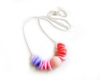 Polymer Clay Necklace, Pink Purple Peach Necklace, Pastel Necklace