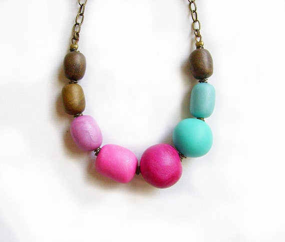 Polymer Clay Bubble Necklace in Magenta, Baked Bronze, Turquoise, Purple -  Geo Deco -  Autumn - Winter Sneak Peek Trend Preview