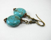 Turquoise earrings, Turquoise drop earrings, antique brass, Gemstone Earrings, Turquoise Discs