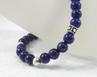 Lapis Bracelet Lapis Lazuli Blue Navy Cobalt Midnight Gemstone Bracelet Stacking Thin Bracelet Stretchy Bracelet