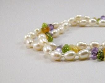 Pearl and Tourmaline Necklace, Tourmaline and Pearl Necklace, Knotted Freshwater Pearl Necklace, Designer Jewelry, Artisan Jewelry