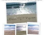 TWO - Signature Starfish that were placed custom beach photo with written words in the sand.