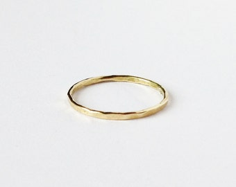 14K gold stacking ring 1mm (available in pink and white gold),gold stack ring, hammered stackable ring,tiny weding band,hammered ring
