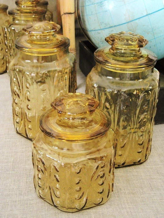 glass canisters for kitchen vintage harvest gold glass canister set 3 pcs cottage life