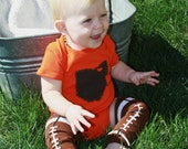 Cleveland Love, State of Ohio ORANGE bodysuit with heart on cleveland, great baby shower gift, father's day gift for new dad