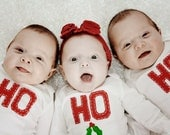 HO, HO, HO Tripzees (Holiday Onesies for Triplets) - twinzzshop