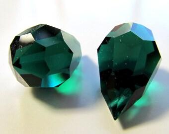 Czech Glass 20 x 12mm Big Deep Evergreen Faceted Full Teardrop Briolettes - 4 Pieces