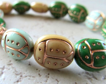 Czech Glass Beads 13 X 11mm Opaque Kelly-Mint Green & Cream Designer Ladybugs  Etched W/ Gold- 12 Pieces
