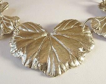 Three  Silver Leaf Geranium  Necklace