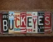 BUCKEYES Ohio State University license plate sign red black silver grey tomboyART tomboy art license plate football