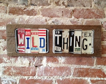 WILD THING Jimi Hendrix upcycled license plate art sign recycled on barn wood OOAK Hey Joe tomboyART