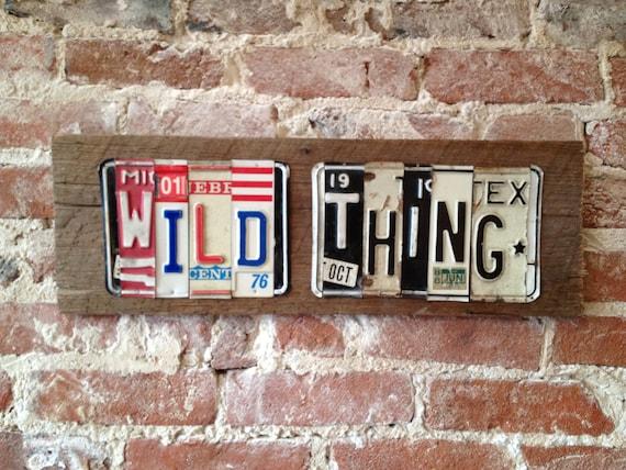 WILD THING Jimi Hendrix upcycled license plate art sign recycled on barn wood OOAK Hey Joe tomboyART
