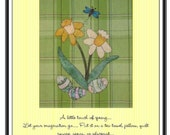 Spring Daffodils Applique  Pattern for Tea Towel