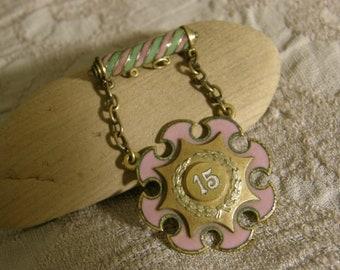 Victorian Rebekah IOOF 15 year pin dated 1892 - lavender enamel
