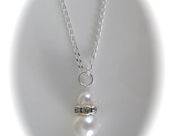 White Pearl Bridal Jewelry Wedding Necklace Bridesmaid Necklace Pearl Jewelry