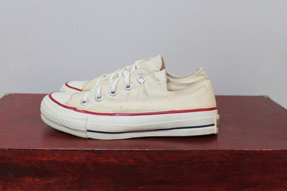 80s Deadstock Converse Shoes White Canvas Low Top Tennis Atheletic NOS Womens 5.5 Mens 4