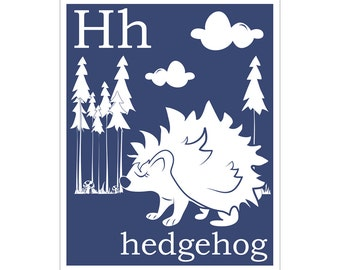 H is for Hedgehog 8x10 inch print
