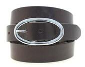 "Women's 1 1/4"" Dark Brown Havana Bridle Leather Belt Hip Or Waist Large Buckle Made In America"