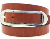 """American Made Ladies' Narrow 1"""" Hip Or Waist Light Brown Tan Show Harness Leather Belt With Over-Sized Oval Buckle"""
