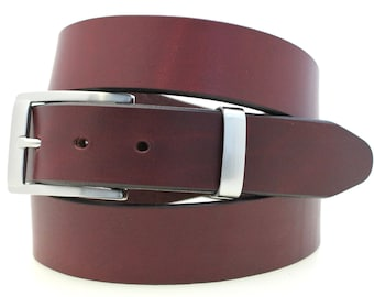 """Made In USA Men's 1 1/4"""" Plain Dress Belt Burgundy Latigo Leather Square Buckle And Loop Set With Brushed Nickel Finish"""