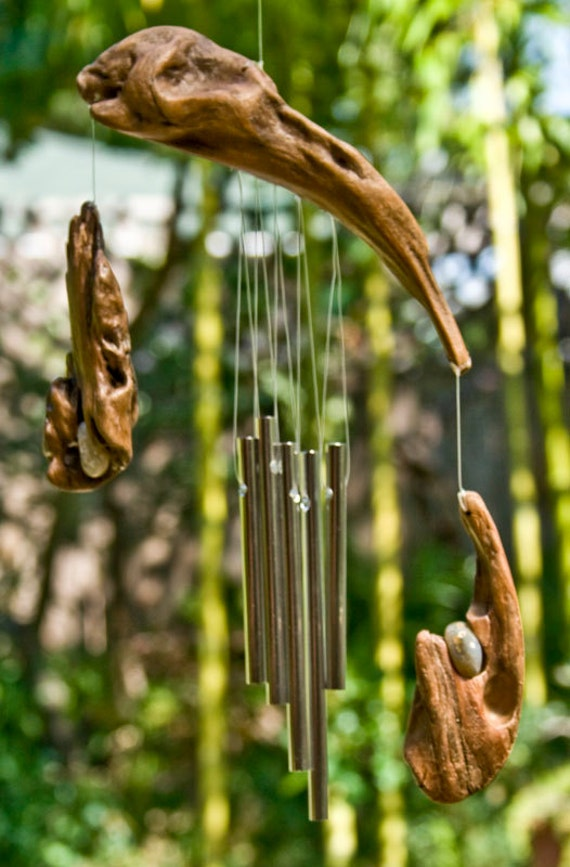 Driftwood Mobile Wind Chime Kinetic Art Wood Sculpture