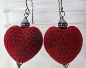 red velvet heart earrings