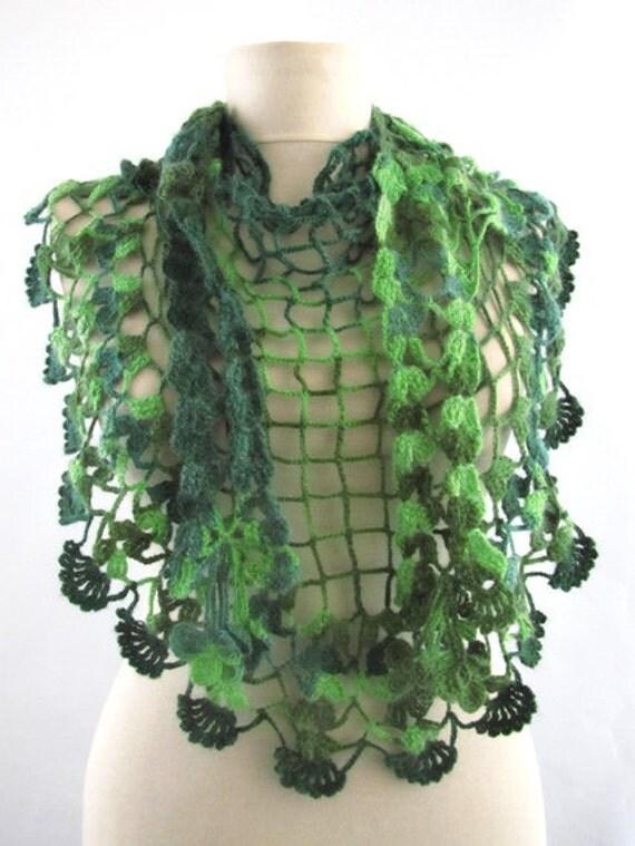 Multicolor scarf / Green Crochet  Scarf..