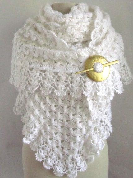 White Shawl Crochet Shawl Bridal Shawl White Scarf