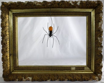 Wee Dangly Czechoslovakian Orange Glass Spider Repurposed Art