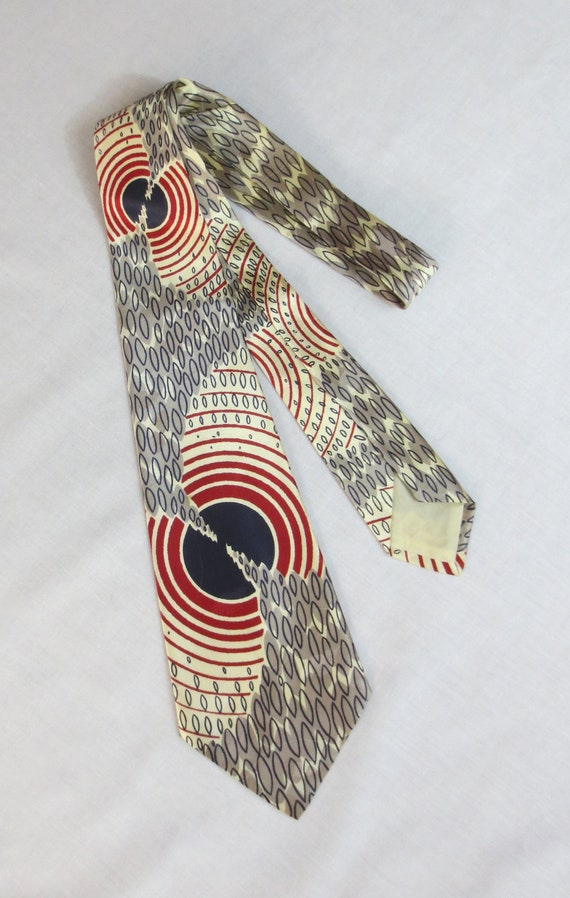 RESERVED for Art - Vintage '40's-'50's Swing Era Rayon Jacquard Necktie - Rockabilly Atomic
