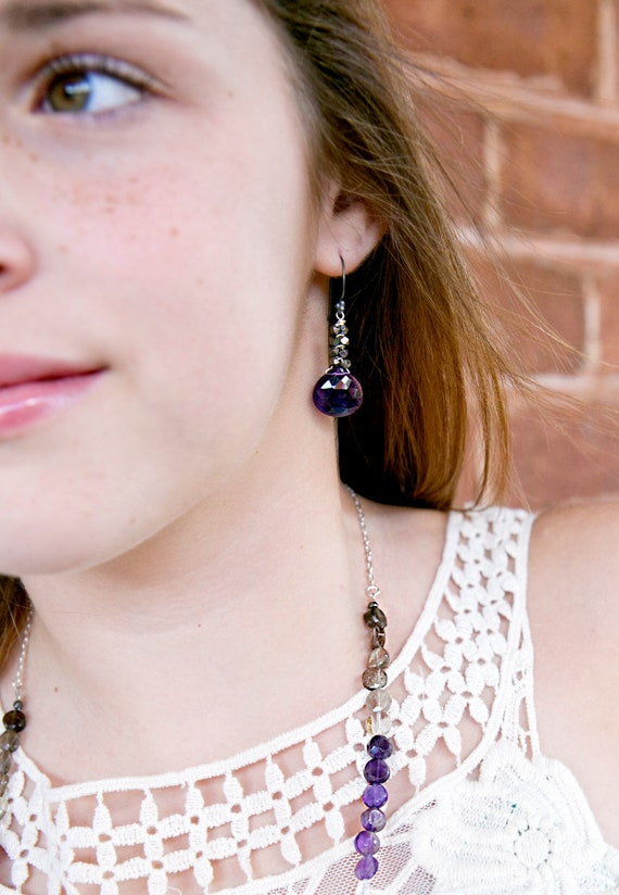 Amethyst Earrings.  Silver.  Oxidized.  Fall Into Color Collection