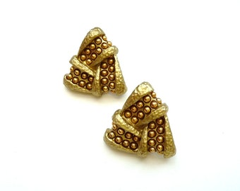 Vintage Modernist Earrings Metallic with Gold Tone Studs