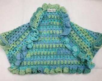 CLEARANCE Crochet Ruffle Shrug - Aqua 8-10 Child