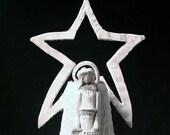 White Christmas Nativity Centerpiece  Porcelain