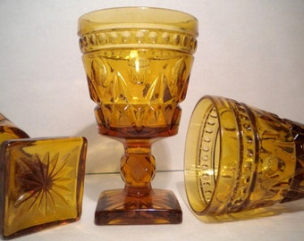Vintage Set of 4 Amber Glass Indiana Colony Park Lane Wine Goblets Water Goblets Glasses