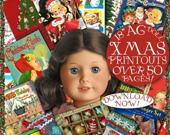"""AG Doll CHRISTMAS Fun Stuff Printables  over 50 pages of Craft things to do with your 18"""" American Girl doll"""