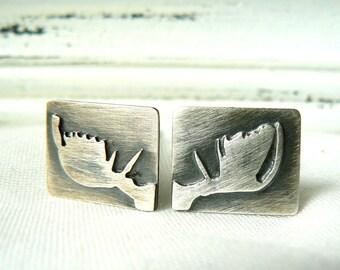 Moose - Oxidized Sterling silver Cuff links Unisex - men- cufflinks