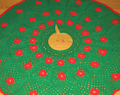 Christmas Tree Skirt ~ Traditional Green and Red Round Christmas Tree Skirt, Extra Large Tree Skirt ~ Wedding Gift ~Housewarming Present