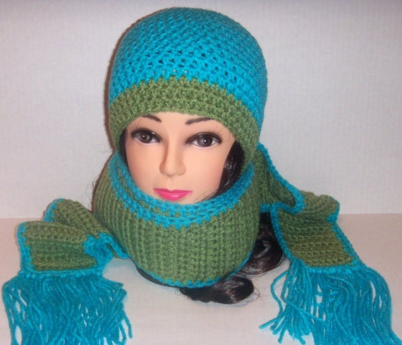 Crochet Scarf and Hat Set in Moss Green and Teal Blue