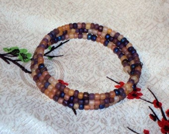 FROSTED AUTUMN  Mix Glass Seed Beads - Memory Wire Wrap Coil Bracelet